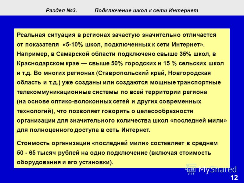 1212 Реальная ситуация в регионах зачастую значительно отличается от показателя «5-10% школ, подключенных к сети Интернет». Например, в Самарской области подключено свыше 35% школ, в Краснодарском крае свыше 50% городских и 15 % сельских школ и т.д.