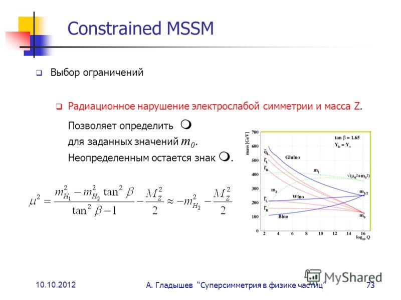 10.10.2012 А. Гладышев Суперсимметрия в физике частиц73 Constrained MSSM Выбор ограничений Радиационное нарушение электрослабой симметрии и масса Z. Позволяет определить для заданных значений m 0. Неопределенным остается знак.