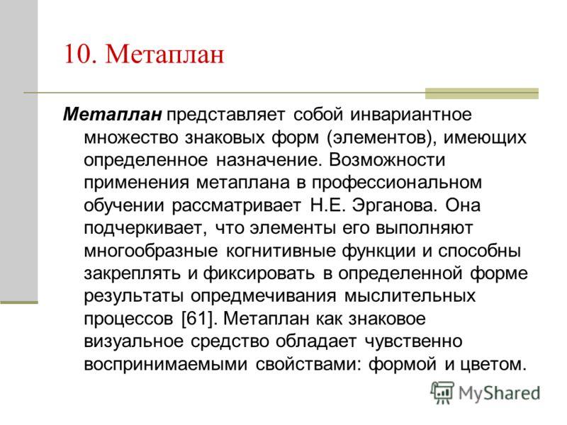 10. Метаплан Метаплан представляет собой инвариантное множество знаковых форм (элементов), имеющих определенное назначение. Возможности применения метаплана в профессиональном обучении рассматривает Н.Е. Эрганова. Она подчеркивает, что элементы его в