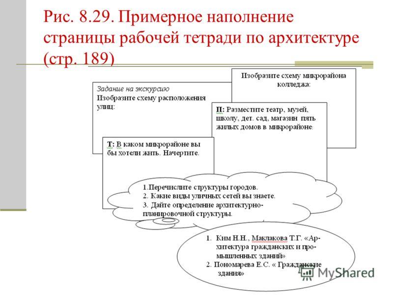 Рис. 8.29. Примерное наполнение страницы рабочей тетради по архитектуре (стр. 189)