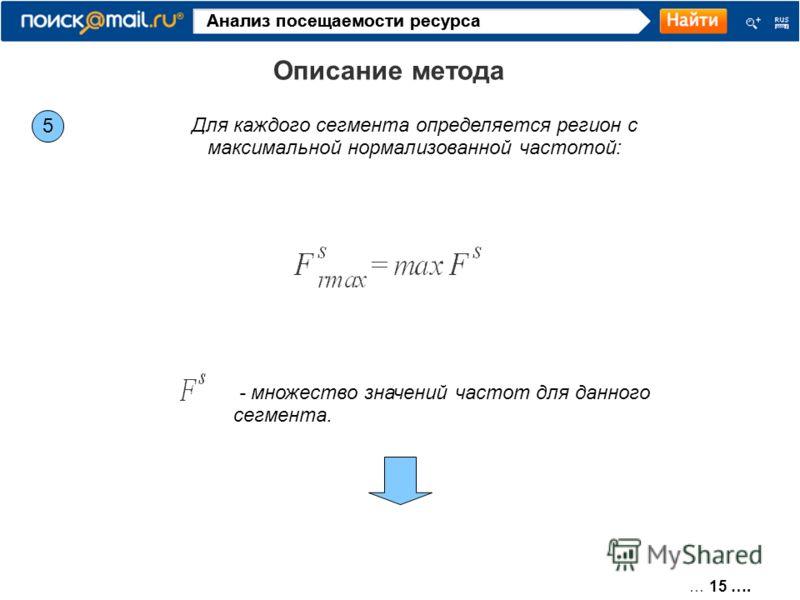 … 15 …. Анализ посещаемости ресурса Описание метода 5 Для каждого сегмента определяется регион с максимальной нормализованной частотой: - множество значений частот для данного сегмента.