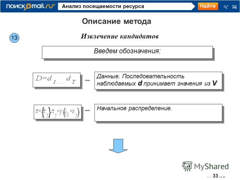 … 33 …. Анализ посещаемости ресурса 13 Извлечение кандидатов Описание метода Введем обозначения: dV Данные. Последовательность наблюдаемых d принимает значения из V Начальное распределение.
