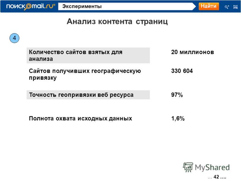 … 42 …. Эксперименты 4 Анализ контента страниц Количество сайтов взятых для анализа 20 миллионов Сайтов получивших географическую привязку 330 604 Точность геопривязки веб ресурса97% Полнота охвата исходных данных1,6%