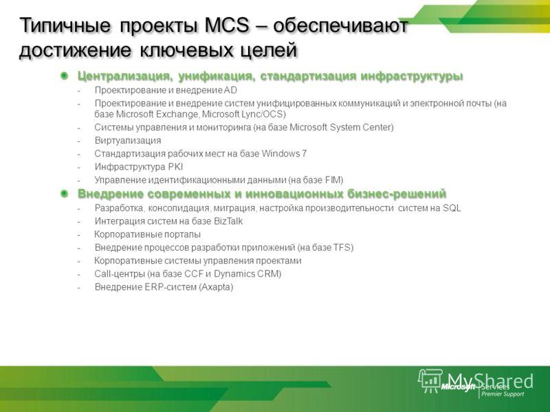 Типичные проекты MCS – обеспечивают достижение ключевых целей Централизация, унификация, стандартизация инфраструктуры -Проектирование и внедрение AD -Проектирование и внедрение систем унифицированных коммуникаций и электронной почты (на базе Microso