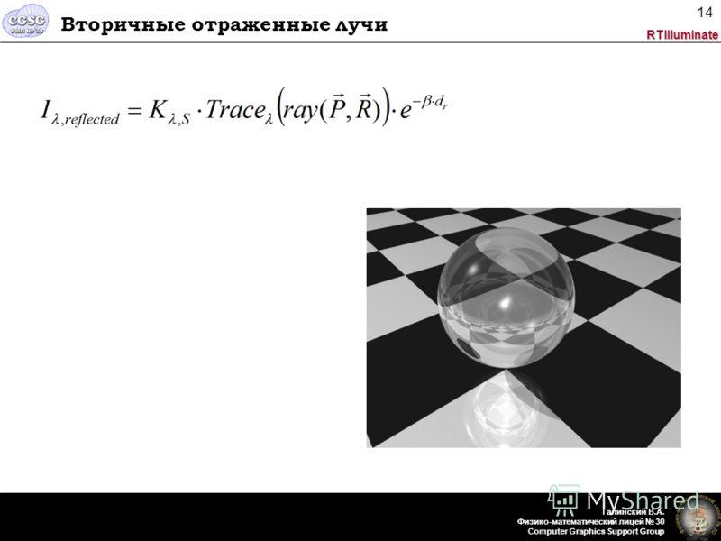 RTIlluminate Галинский В.А. Физико-математический лицей 30 Computer Graphics Support Group 14 Вторичные отраженные лучи