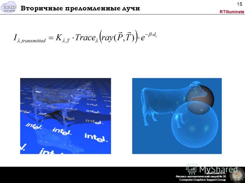 RTIlluminate Галинский В.А. Физико-математический лицей 30 Computer Graphics Support Group 15 Вторичные преломленные лучи