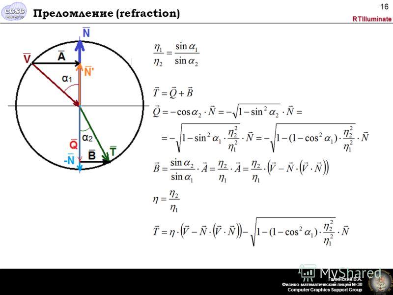 RTIlluminate Галинский В.А. Физико-математический лицей 30 Computer Graphics Support Group 16 Преломление (refraction)