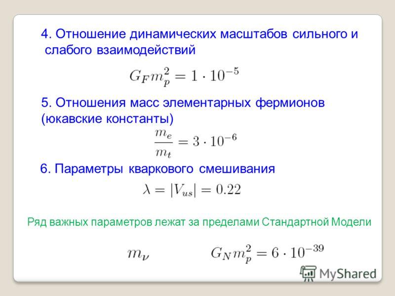 4. Отношение динамических масштабов сильного и слабого взаимодействий 5. Отношения масс элементарных фермионов (юкавские константы) 6. Параметры кваркового смешивания Ряд важных параметров лежат за пределами Стандартной Модели