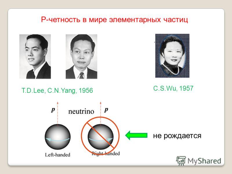 T.D.Lee, C.N.Yang, 1956 C.S.Wu, 1957 не рождается Р-четность в мире элементарных частиц