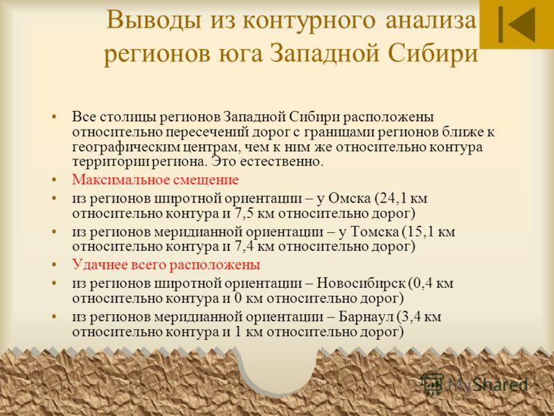 Выводы из контурного анализа регионов юга Западной Сибири Все столицы регионов Западной Сибири расположены относительно пересечений дорог с границами регионов ближе к географическим центрам, чем к ним же относительно контура территории региона. Это е
