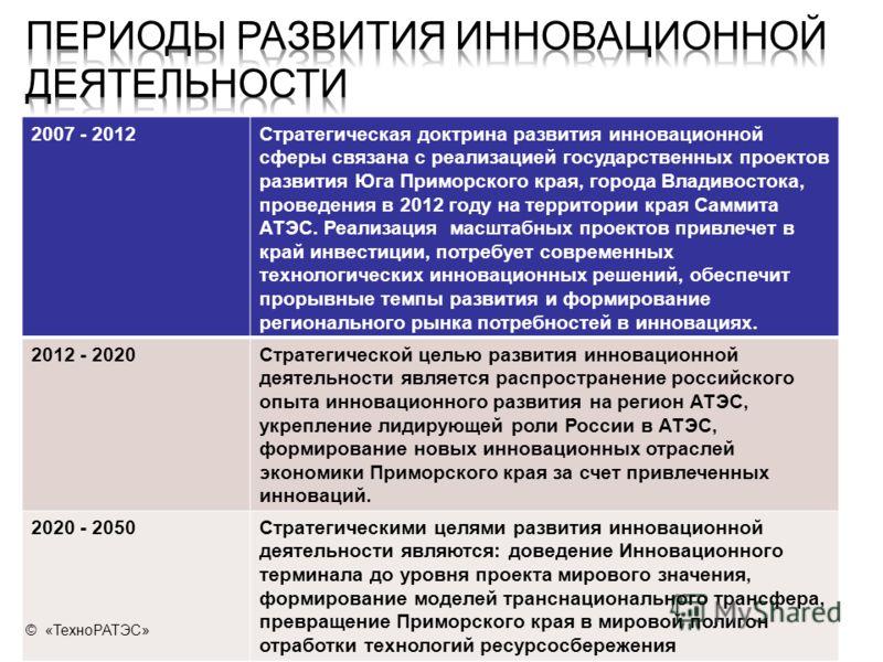 2007 - 2012Стратегическая доктрина развития инновационной сферы связана с реализацией государственных проектов развития Юга Приморского края, города Владивостока, проведения в 2012 году на территории края Саммита АТЭС. Реализация масштабных проектов