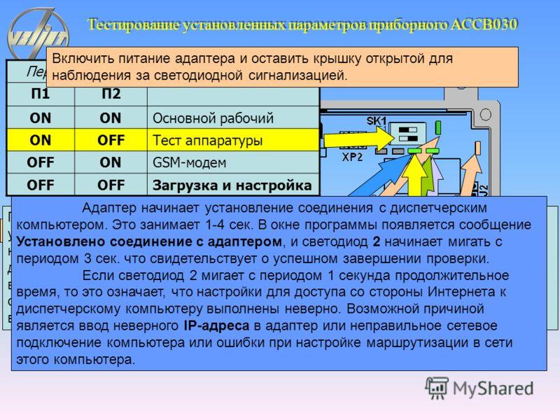Тестирование установленных параметров приборного АССВ030 Выбрать пункт меню Настройка > Тест > TCP/IP-подключение. Появится окно с сообщением Ожидание соединения.