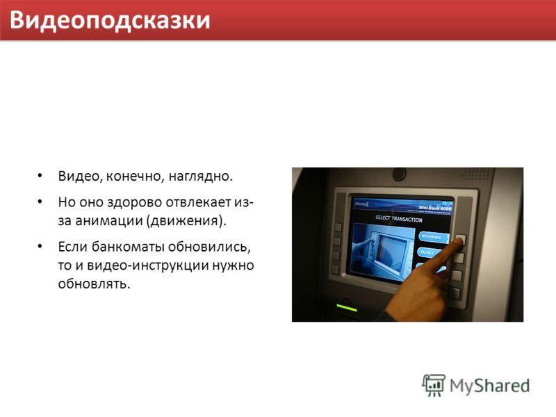 Видеоподсказки Видео, конечно, наглядно. Но оно здорово отвлекает из- за анимации (движения). Если банкоматы обновились, то и видео-инструкции нужно обновлять.