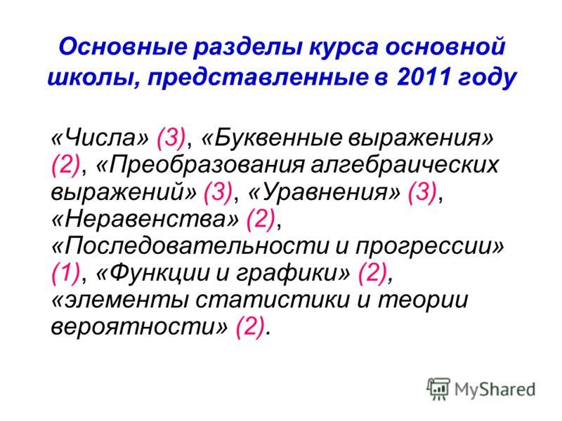 Основные разделы курса основной школы, представленные в 2011 году «Числа» (3), «Буквенные выражения» (2), «Преобразования алгебраических выражений» (3), «Уравнения» (3), «Неравенства» (2), «Последовательности и прогрессии» (1), «Функции и графики» (2