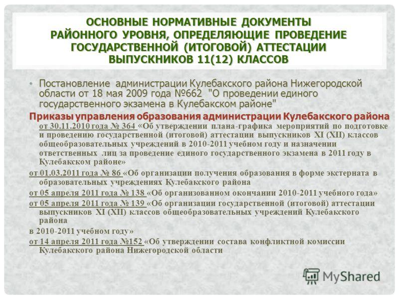 ОСНОВНЫЕ НОРМАТИВНЫЕ ДОКУМЕНТЫ РАЙОННОГО УРОВНЯ, ОПРЕДЕЛЯЮЩИЕ ПРОВЕДЕНИЕ ГОСУДАРСТВЕННОЙ (ИТОГОВОЙ) АТТЕСТАЦИИ ВЫПУСКНИКОВ 11(12) КЛАССОВ Постановление администрации Кулебакского района Нижегородской области от 18 мая 2009 года 662