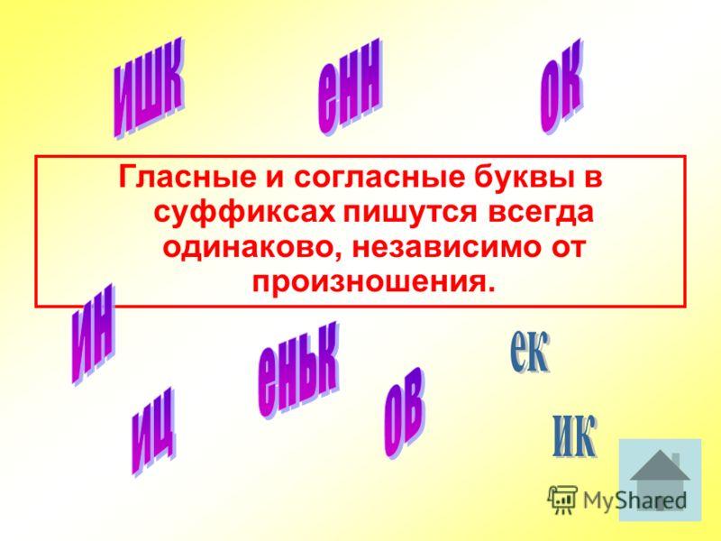 Гласные и согласные буквы в суффиксах пишутся всегда одинаково, независимо от произношения.
