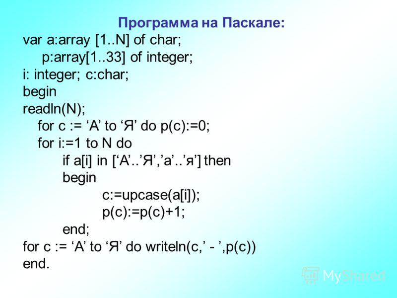 Программа на Паскале: var a:array [1..N] of char; p:array[1..33] of integer; i: integer; c:char; begin readln(N); for c := А to Я do p(c):=0; for i:=1 to N do if a[i] in [A..Я,а..я] then begin c:=upcase(a[i]); p(c):=p(c)+1; end; for c := А to Я do wr