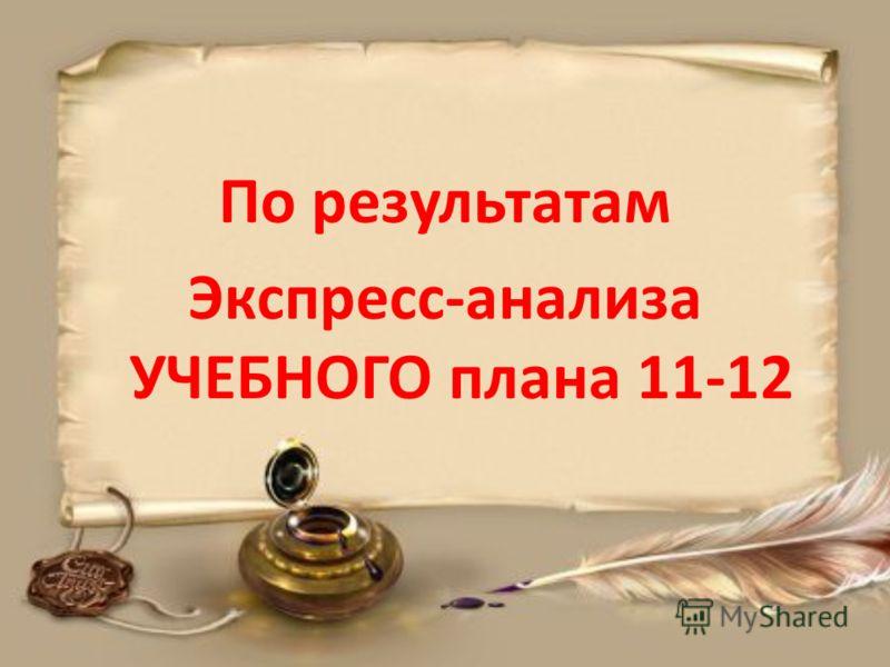 По результатам Экспресс-анализа УЧЕБНОГО плана 11-12