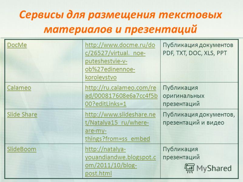 Сервисы для размещения текстовых материалов и презентаций DocMehttp://www.docme.ru/do c/26527/virtual._noe- puteshestvie-v- ob%27edinennoe- korolevstvo Публикация документов PDF, TXT, DOC, XLS, PPT Calameohttp://ru.calameo.com/re ad/000817608e6a7cc4f