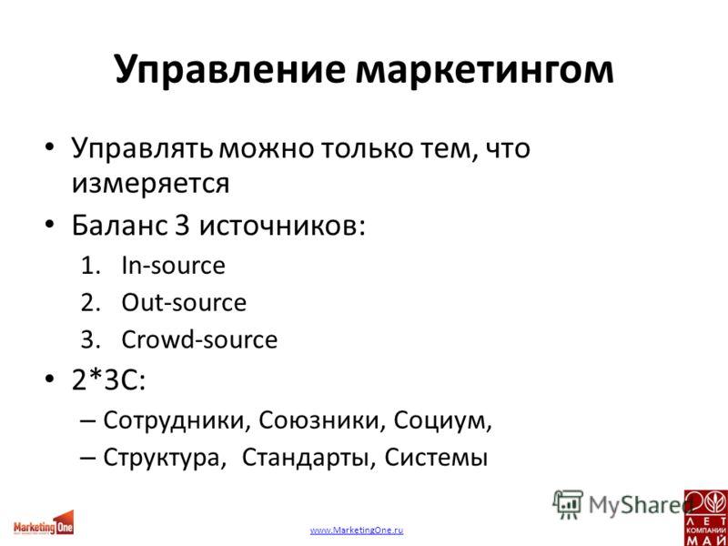 Управление маркетингом Управлять можно только тем, что измеряется Баланс 3 источников: 1.In-source 2.Out-source 3.Сrowd-source 2*3С: – Сотрудники, Союзники, Социум, – Структура, Стандарты, Системы www.MarketingOne.ru