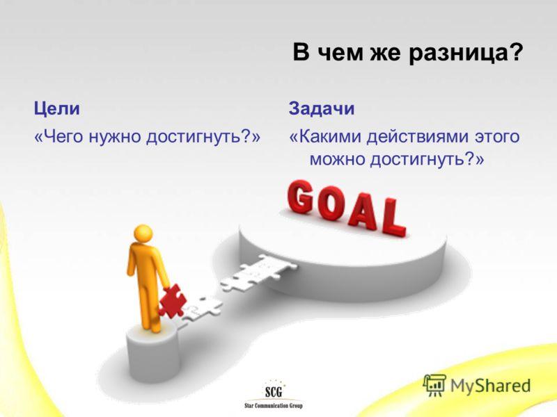 В чем же разница? Цели «Чего нужно достигнуть?» Задачи «Какими действиями этого можно достигнуть?»