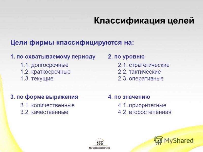 Классификация целей Цели фирмы классифицируются на: 1. по охватываемому периоду 1.1. долгосрочные 1.2. краткосрочные 1.3. текущие 2. по уровню 2.1. стратегические 2.2. тактические 2.3. оперативные 3. по форме выражения 3.1. количественные 3.2. качест