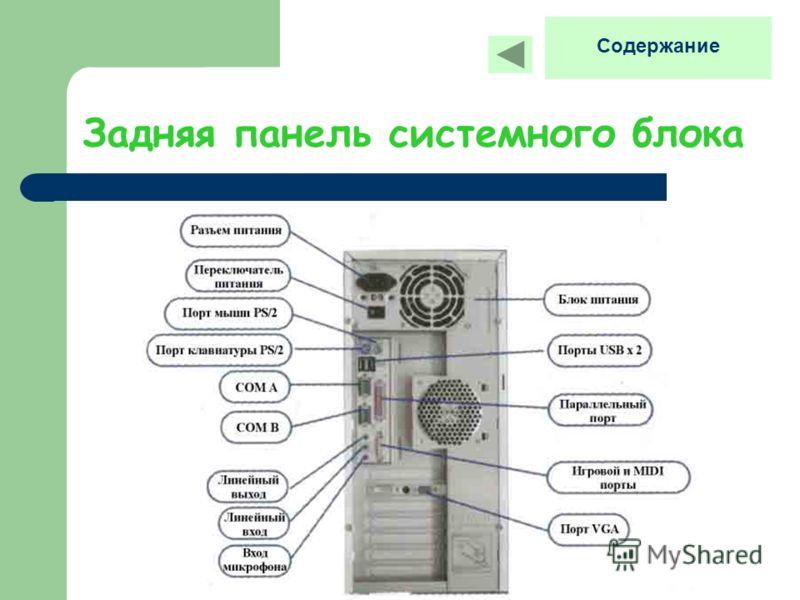 Задняя панель системного блока Содержание