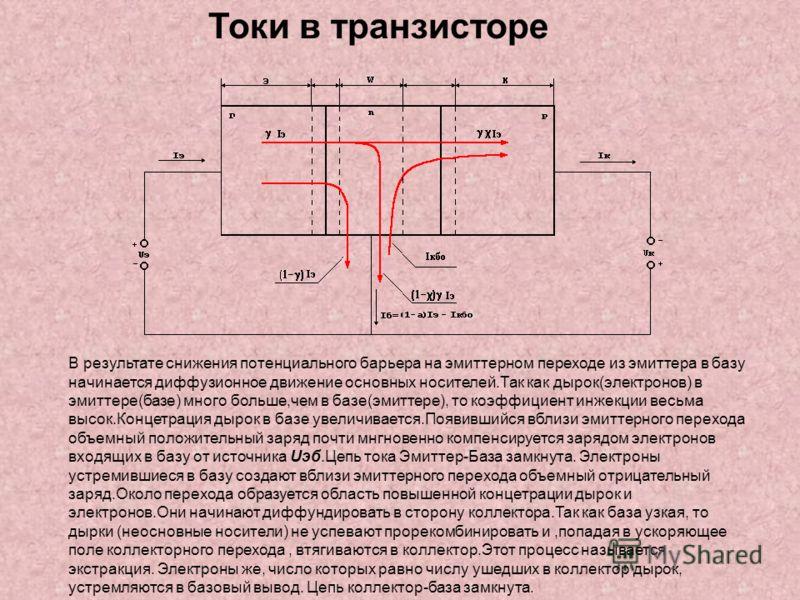 Токи в транзисторе В результате снижения потенциального барьера на эмиттерном переходе из эмиттера в базу начинается диффузионное движение основных носителей.Так как дырок(электронов) в эмиттере(базе) много больше,чем в базе(эмиттере), то коэффициент