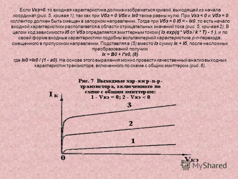 Если Vкэ=0, то входная характеристика должна изображаться кривой, выходящей из начала.координат (рис. 5, кривая 1), так как при Vбэ = 0 Vбк и Iк0 также равны нулю. При Vкэ < 0 и Vбэ = 0 коллектор должен быть смещен в запорном направлении. Тогда при V