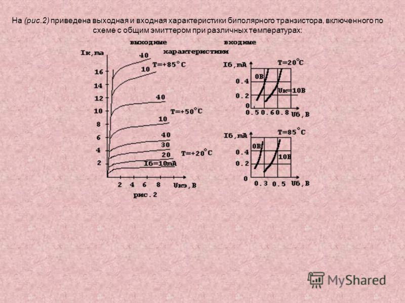На (рис.2) приведена выходная и входная характеристики биполярного транзистора, включенного по схеме с общим эмиттером при различных температурах: