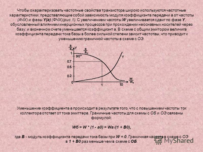 Чтобы охарактеризовать частотные свойства транзистора широко используются частотные характеристики; представляющие собой зависимость модуля коэффициэнта передачи a от частоты (АЧХ) и фазы Y(a) (ФЧХ)(рис.1). С увеличением частоты W увеличивается сдвиг