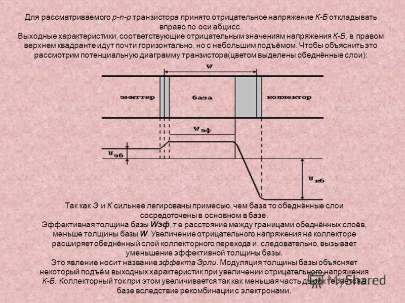 Для рассматриваемого p-n-p транзистора принято отрицательное напряжение К-Б откладывать вправо по оси абцисс. Выходные характеристики, соответствующие отрицательным значениям напряжения К-Б, в правом верхнем квадранте идут почти горизонтально, но с н