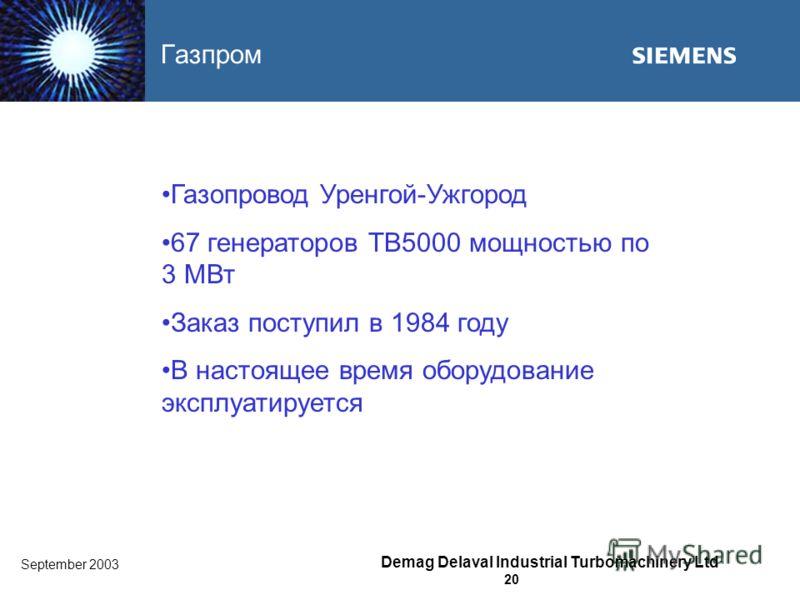 September 2003 Demag Delaval Industrial Turbomachinery Ltd 20 Газпром Газопровод Уренгой-Ужгород 67 генераторов TB5000 мощностью по 3 MВт Заказ поступил в 1984 году В настоящее время оборудование эксплуатируется