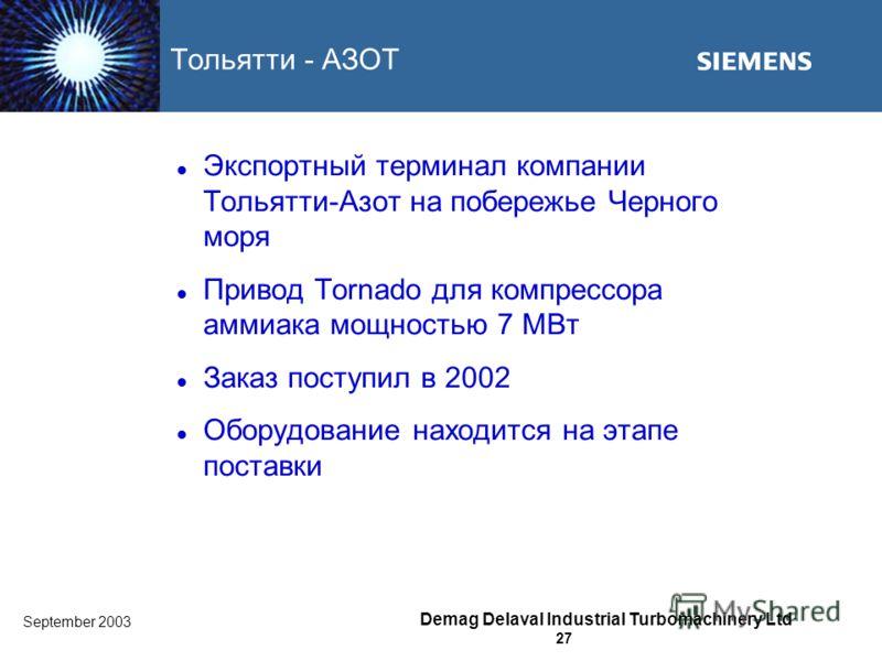 September 2003 Demag Delaval Industrial Turbomachinery Ltd 27 Тольятти - АЗОТ Экспортный терминал компании Тольятти-Азот на побережье Черного моря Привод Tornado для компрессора аммиака мощностью 7 MВт Заказ поступил в 2002 Оборудование находится на