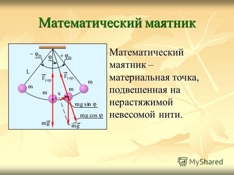 Математический маятник Математический маятник – материальная точка, подвешенная на нерастяжимой невесомой нити.