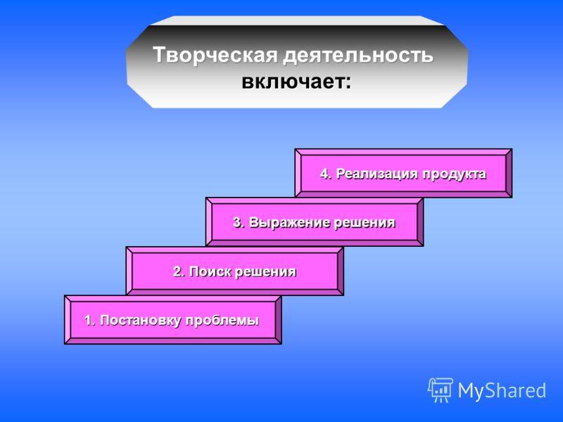 Творческая деятельность включает: 1. Постановку проблемы 2. Поиск решения 3. Выражение решения 4. Реализация продукта