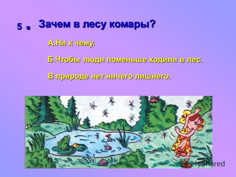 5. Зачем в лесу комары? А.Ни к чему. Б.Чтобы люди поменьше ходили в лес. В природе нет ничего лишнего.
