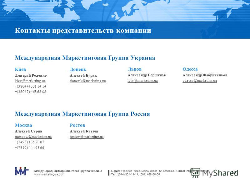 Международная Маркетинговая Группа Украина www.marketing-ua.com Офис: Украина, Киев, Мельникова, 12, офис 64. E-mail: info@marketing.ua Тел: (044) 331-14-14, (067) 468-68-08. 13 Контакты представительств компании Международная Маркетинговая Группа Ук