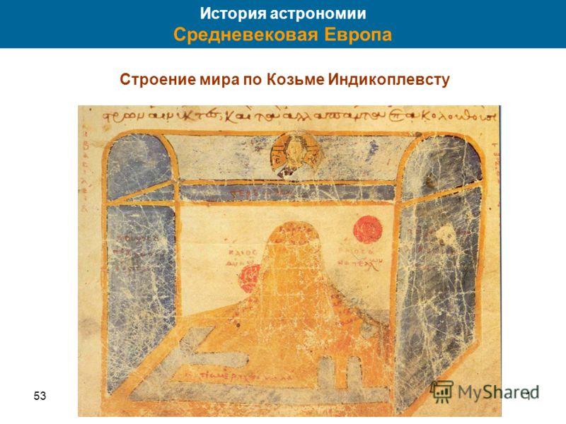 531 История астрономии Средневековая Европа Строение мира по Козьме Индикоплевсту