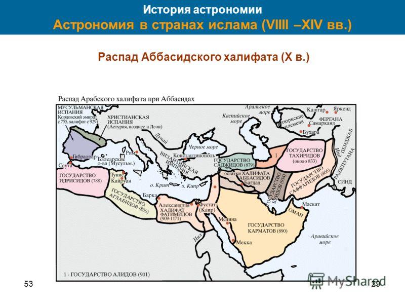 5329 История астрономии Астрономия в странах ислама (VIIII –XIV вв.) Распад Аббасидского халифата (X в.)
