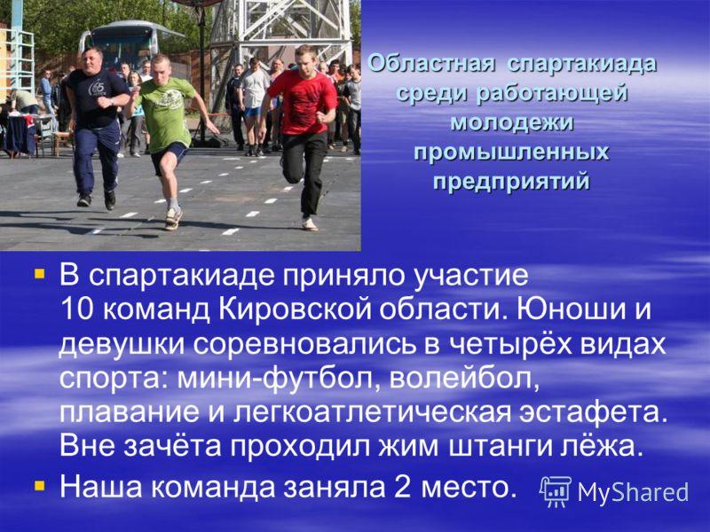 Областная спартакиада среди работающей молодежи промышленных предприятий В спартакиаде приняло участие 10 команд Кировской области. Юноши и девушки соревновались в четырёх видах спорта: мини-футбол, волейбол, плавание и легкоатлетическая эстафета. Вн