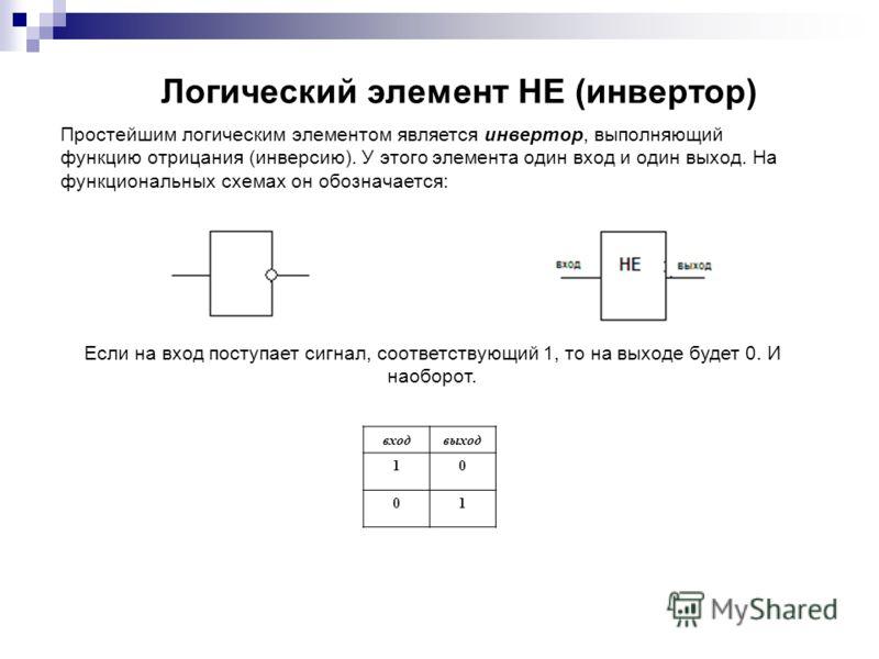 Логический элемент НЕ (инвертор) Простейшим логическим элементом является инвертор, выполняющий функцию отрицания (инверсию). У этого элемента один вход и один выход. На функциональных схемах он обозначается: входвыход 10 01 Если на вход поступает си