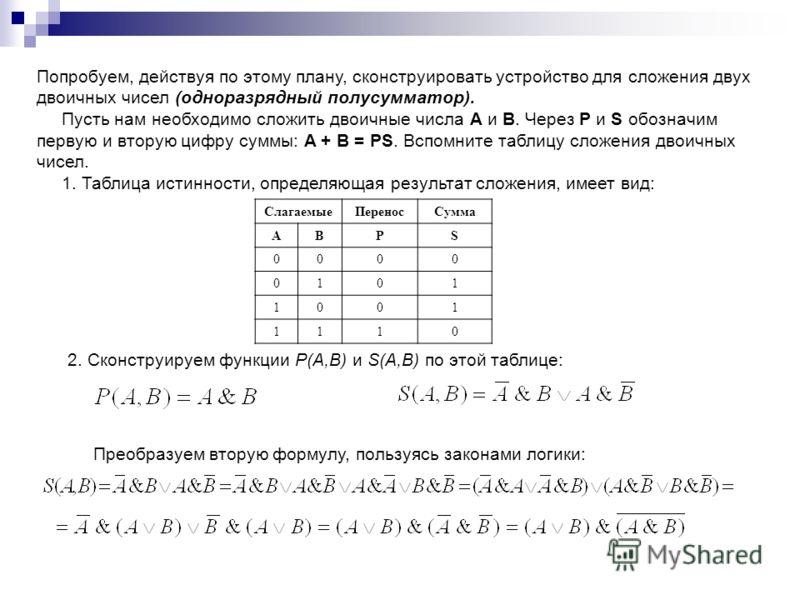 Попробуем, действуя по этому плану, сконструировать устройство для сложения двух двоичных чисел (одноразрядный полусумматор). Пусть нам необходимо сложить двоичные числа А и В. Через P и S обозначим первую и вторую цифру суммы: A + B = PS. Вспомните
