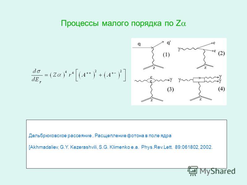 Процессы малого порядка по Z Дельбрюковское рассеяние, Расщепление фотона в поле ядра [Akhmadaliev, G.Y. Kezerashvili, S.G. Klimenko e.a. Phys.Rev.Lett. 89:061802, 2002.