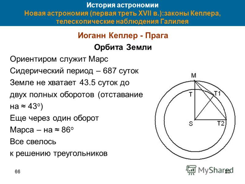 6620 История астрономии Новая астрономия (первая треть XVII в.):законы Кеплера, телескопические наблюдения Галилея Иоганн Кеплер - Прага Орбита Земли Ориентиром служит Марс Сидерический период – 687 суток Земле не хватает 43.5 суток до двух полных об