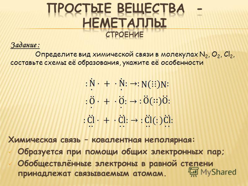 Химическая связь – ковалентная неполярная: Образуется при помощи общих электронных пар; Обобществлённые электроны в равной степени принадлежат связываемым атомам. Задание : Определите вид химической связи в молекулах N 2, O 2, Cl 2, составьте схемы е