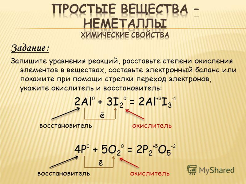 Задание : Запишите уравнения реакций, расставьте степени окисления элементов в веществах, составьте электронный баланс или покажите при помощи стрелки переход электронов, укажите окислитель и восстановитель: 2Al 0 + 3I 2 0 = 2Al +3 I 3 -1 ē восстанов