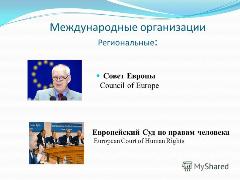 Европейский Суд по правам человека European Court of Human Rights Совет Европы Council of Europe Международные организации Региональные :
