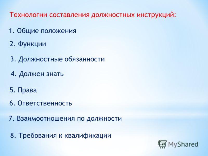 Технологии составления должностных инструкций: 1. Общие положения 4. Должен знать 5. Права 2. Функции 3. Должностные обязанности 6. Ответственность 7. Взаимоотношения по должности 8. Требования к квалификации