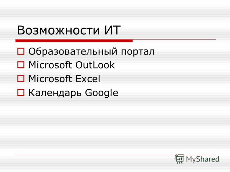 Возможности ИТ Образовательный портал Microsoft OutLook Microsoft Excel Календарь Google